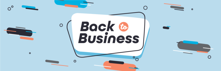 """This is a graphic image of the banner for the Back to Business WordPress support special offer from Maintainn. The words on the image say, """"Back to business."""""""